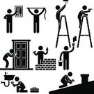 Symbol,Manual Worker,Electrician,Plumber,Silhouette,Equipment,Construction Worker,Toolbox,Measuring,Construction Industry,Building Contractor,Home Improvement,Work Tool,Repairing,Drilling,People,Door,Faucet,Men,Black Color,Roof,Locksmith,Restoring,Pipe - Tube,Painting,Fuse Box