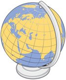 Globe - Man Made Object,Sphere,Single Object,Vacations,Blue,Map,Silver Colored,Travel,Isolated On White,Illustrations And Vector Art,Navigational Equipment,Color Image,Vector,No People,Yellow