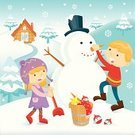 Snowman,Building - Activity,Child,Christmas,Snowflake,Snow,Season,Decoration,Greeting,Holiday,Happiness,Winter