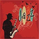 Jazz,1950s Style,Saxophonist,Retro Revival,Silhouette,Saxophone,Vector,Music,Ilustration,Text,Music Style,Sketch,Red,Bird,Grunge,hand drawn,Drawing - Art Product