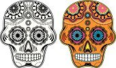 Human Skull,Sugar,Day Of The Dead,Mexican Culture,Pattern,Single Flower,Ornate,Design,Vector,Holiday,Decoration,mexican tradition,Scroll Shape,Celebration,Vine,Spirituality,Multi Colored,Human Head,Gothic Style,Religion,Christianity,Human Skeleton
