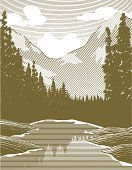 Mountain,Woodcut,Old-fashioned,River,Lake,Camping,Engraved Image,Landscape,Water,Vector,Ilustration,Tree,Scratchboard,Summer,Outdoors,Springtime,Rustic,Wilderness Area,Inspiration