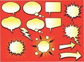 Comic Book,Exploding,Cartoon,Speech Bubble,Thinking,Discussion,Talking,Empty,Thought Bubble,Vector,Arrow Symbol,Speech