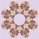 Pattern,Arabic Style,Doily,Abstract,Embroidery,Ilustration,Ornate,Floral Pattern,Design Element,Decoration,Brown,Vector,Art,Computer Graphic,Old-fashioned,Part Of,Design,Style,Purple,Yellow,Curve,Elegance,Circle,Shape,Symmetry