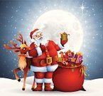 Santa Claus,Christmas,Sack,Rudolph The Red-nosed Reindeer,Reindeer,Bag,Moon Surface,Snowing,Cartoon,Smiling,Gift,Teddy Bear,Holding,Vector,Holiday,Cheerful,Symbol,Toy,Design Element,Moon,Winter,Star Shape,Red,Happiness