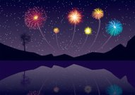 Firework Display,Lake,Pyrotechnics,Mountain,Water,Exploding,Vector,Night,Star - Space,Computer Graphic,Bright,Ilustration,Backgrounds,Fun,Celebration,Reflection,Copy Space,Showing,Star Shape,Digitally Generated Image,Awe,Illustrations And Vector Art,Majestic,Outdoors,Concepts And Ideas,Glowing,Competition,Sports And Fitness,Time,Dusk,Color Image