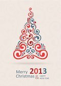 Christmas Card,Christmas,2013,New Year's Day,New Year's Eve,New Year,Fun,Greeting,Christmas Tree,Happiness,Season,Postcard,Congratulating,Old-fashioned,Celebration,Wishing,Vector,Holiday