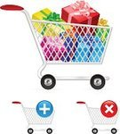 Cart,Gift,Food,Set,Full,Metal,Vibrant Color,Merchandise,Shopping,Empty