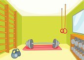 Gym,Indoors,Cartoon,Backgrounds,Lifestyles,Equipment,Sport,Wellbeing,Ilustration,Healthy Lifestyle