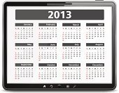 Calendar,2013,Month,Year,Vector,Black Color,Computer,template,Digital Tablet,Computer Monitor,Day,Isolated,Visual Screen,White,White Background,Isolated On White,2013 Year,PC,Horizontal,Calendar Date,Shiny,Shadow