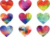 Heart Shape,Geometric Shape,Spectrum,Abstract,Symbol,Triangle,Vector,Pattern,Valentine's Day - Holiday,Three Dimensional,Multi Colored,Silhouette,Textured,Pink Color,Colors,Design Element,Color Image,Composition,Orange Color,Blue,Love,Red,Yellow,Purple,Color Gradient,Green Color,Computer Graphic,Ilustration