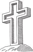 Cross Shape,Cross,Drawing - Art Product,Black And White,Black Color,Ilustration,Vector,Symbol,Christianity,Line Art,Sketch,No People,Single Object,Pen And Marker,Doodle,On Top Of,Computer Graphic,Design Element,Mountain Peak,Outdoors,Isolated On White,Transparent,Simplicity,Clip Art,Religion,Spirituality,White,hand drawn,black-and-white,Vertical,holy cross
