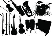 Musical Instrument,Equipment,Jazz,Woodwind Instrument,Silhouette,Music,Trumpet,Vector,Guitar,Symbol,Saxophone,Musical Note,Musical Symbol,Sound,Violin,Piano,Rock and Roll,Harp,Classic,Cello,Acoustic Guitar,Panpipe,Religious Symbol,Design,Religious Icon,Icon Set,Folk Music,Ilustration,Drum