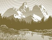 Mountain,Camping,Old-fashioned,Woodcut,Lake,Landscape,Rustic,Wilderness Area,Tree,Vector,Engraving,River,Springtime,Summer,Water,Inspiration,Scratchboard,Travel Destinations,Outdoors