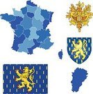 Symbol,France,Icon Set,Franche-Comte,History,French Flag,Europe,Collection,Coat Of Arms,regions,Map,Insignia,Sign,Vector,Clip Art,Set,Map Of France,heraldic,Cartography,Shield,Tourism,Travel,Topography