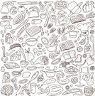 Food,Doodle,Vegetable,Recipe,Domestic Kitchen,Backgrounds,Cooking,Fruit,Meat,Book,Chef,Restaurant,Menu,Breakfast,Ilustration,Bread,Cheese,Pizza,Cooking Oil,Drawing - Art Product,Sugar,Dinner,Coffee - Drink,Cup,Eggs,Dieting,Drinking Water,Plate,Lunch,Fish,Tea - Hot Drink,Chicken,Holiday,Cooking Pan,Crockery,Variation,Vector,Baking,Cake,Sweet Food,Shape,Set,Drink,Kitchen Knife,Design Element,Porridge,Collection,Spoon,Milk