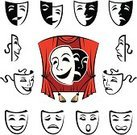 Mask,Actor,Comedy Mask,Symbol,Theatrical Performance,Stage Theater,Tragedy Mask,Art,Curtain,Depression - Sadness,Vector,Cheerful,Collection,Set,Performance,Carnival,Urban Scene,Emotion,Disguise,Mystery,Human Face,Cultures,Smiling,Costume,Ilustration,Exhibition