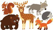 Wolf,Fox,Hedgehog,Cartoon,Cute,Bear,Ilustration,Squirrel,Animals In The Wild,Nature,Deer,Animal,Set,Wildlife,Animal Themes,Forest Animals,Isolated On White,Group Of Animals,Series,Fun,Small