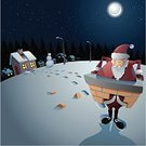 Santa Claus,Snow,Fireplace,Christmas,Stuck,Chimney,Trapped,Moon,Magic,Moonlight,Snow Puppet,Overweight,Brick,House,Vector,Weight,House,Steps,Holiday,Night,Cartoon,Humor