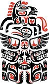 North American Tribal Culture,Painted Image,Art,Haida,Totem Pole,Inuit,Dog,Bird,Wolf,Indigenous Culture,Tattoo,Symbol,Pattern,Horse,Artificial Wing,Paintings,Animal Themes,Ornate,Cultures,Black Color,North,Ilustration,Crow,Animals Hunting,Animal Teeth,Red,White,American Culture,Crow Tribe,Vector,Design