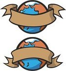 Banner,Clip Art,Earth,Inside Of,Ribbon,Famous Place,Brown,Globe - Man Made Object,Cartoon,White Background,Sparse,Copy Space,Award,Covering