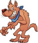 Wolf,Rudeness,Cartoon,Color Gradient,Vector,Brown,Handkerchief,Standing,Isolated,Evil,Characters,Ilustration,Smiling