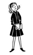 Illustration,Childhood,Education,Child,Line Art,Girls,Adolescence,Skirt,Fashion,Student,One Person,Book,Clothing,People,Black And White,Smiling,Illustration Technique