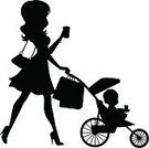 Silhouette,Mother,Women,Shopping,Baby,Daughter,Shopping Bag,Nanny,Child,Chores,Son,Parent,15-18 Months,Toddler,Walking