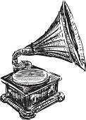 Gramophone,Turntable,Art,Doodle,Music,Record,Single Object,Obsolete,Playing,Luxury,Drawing - Art Product,Isolated On White,Musical Instrument,Ancient,Elegance,Old-fashioned,Nostalgia