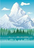 Mountain,European Alps,Lake,Vector,Mountain Peak,Pine,Landscape,Winter,Pine Tree,Ilustration