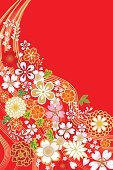 Japanese Culture,New Year's Day,Japan,Cherry Tree,Kimono,Backgrounds,Pattern,Flower,Ilustration,Cherry Blossom,Cartoon,Luxury,華やか,Celebration,Celebration Event,Curve,Variation,Vertical,Copy Space,Group of Objects,Blossom,Cultures,縦位置,Red,Vector