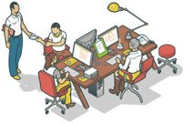 Isometric,Office Interior,Team,Computer,Casual Clothing,Design,Clip Art,Computer Monitor,Coffee - Drink,Desk,iso,Instrument of Measurement,White Background,Job - Religious Figure,Vector,Ilustration,Working,Communication,Occupation