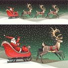 Santa Claus,Sleigh,Reindeer,Christmas,Red,Deer,Gift,Snow,Christmas Present,Ilustration,Flying,Landscape,Vector,Paintings,Grandfather,Night,Sack,Men,Winter,Animated Cartoon,Holiday,Celebration