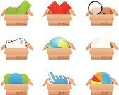 Box - Container,Selling,Graph,Retail,Computer Icon,Merchandise,Symbol,Three-dimensional Shape,Rejection,Earth,Sphere,Isolated,Agreement,Design,Package,Planet - Space,Searching,Magnifying Glass,Globe - Man Made Object,Three Dimensional,Mail,Vector,Ilustration,Single Object,Packaging