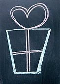 Blackboard,Symbol,Chalk - Art Equipment,Party - Social Event,Ribbon,Box - Container,Sign,Gift,Memorial,Celebration,Color Image,Giving,Colors,Holiday