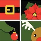 Christmas,Santa Claus,Belt,Reindeer,Square,Square Shape,Poinsettia,Christmas Tree,Computer Graphic,Color Image,Simplicity,Celebration,Christmas Ornament,Symbol,Black Color,Gift,Icon Set,Flower,Green Color,Red,White