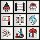 Purim,Computer Icon,Symbol,Torah,Fun,Sign,Israel,Balloon,Costume,Blue,Jewish Ethnicity,Sweet Food,Joy,Religion,Judaism,History,Israeli Culture,Happiness,White,Holiday,Gift,Black Color,Carnival,Wine,Set,Red,Hamantaschen,King,Star Of David,Vector,Wine Bottle,Pie