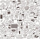Kitchen Utensil,Domestic Kitchen,Cooking,Symbol,Spoon,Baking,Food,Bowl,Pattern,Equipment,Recipe,Soup,Fork,Chef,Bakery,Oven,Restaurant,Vector,Toaster,Ingredient,Isolated,Kitchenware Department,Spatula,Coffee - Drink,Spice,Cooking Pan,Apron,Blender,Kitchen Knife,Jug,Microwave,Tea - Hot Drink,Hat,Design,Meal,Juice,Dinner,Group of Objects,Set,Cooking Oil,Bread,Breakfast,Blade,Kettle,Salt,Teapot,Porridge,Corkscrew,Leaf,Cup