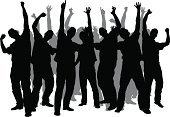 Silhouette,Waving,Men,Audience,Group Of People,Celebration,Crowd,Vector,Energy,Excitement,Standing,Ecstatic,Male,Ilustration,Adult,Pointing,Cheering