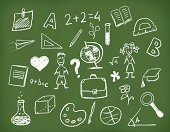 Blackboard,Ilustration,Chalk - Art Equipment,People,Science,Education,Symbol,Dirty,subject,Little Boys,Little Girls,Student,Mathematics,Learning,school board,Vacations,Concepts,Chemistry