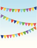 Traditional Festival,Summer,Garland,Flag,Sky,Party - Social Event,Birthday,Jubilee,Carnival,Fun,Decoration,Event,Vector,Green Color,Blue,Cheerful,Orange Color,Yellow,Celebration,Anniversary,Multi Colored,Red