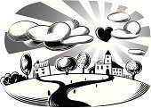 Village,Ilustration,Black And White,Vector,Sun,Love,Friendship,Happiness,Conceptual Symbol,Digitally Generated Image,Tree,Heart Shape,Black Color,White,Solar Flare,Cloud - Sky,Road,Symbol,Landscape,White Background,Art Product,Residential Structure,Computer Graphic