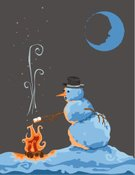 Snowman,Christmas,Marshmallow,Melting,Heat - Temperature,Winter,Fire - Natural Phenomenon,Cold - Termperature,Snow,Moon,Holiday,Smoke - Physical Structure,Vertical,Hat,Sparks,Objects/Equipment,Holidays And Celebrations,Winter,Carrot,Glowing,carrot nose,Nature