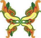 Retro Revival,Old-fashioned,Bali,Ilustration,Cartouche,Ornate,Fleuron,Vector,Design,Curve,Painted Image,Indonesia,Symbol,Scroll Shape,Sign,Decoration,Cultures,Butterfly - Insect,Elegance