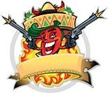 Chili Pepper,Pepper - Vegetable,Cartoon,Fire - Natural Phenomenon,Circle,Gun,Joy,Mexican Culture,Maraca,Red,Cheerful,Raw Potato,Flag,Sign,Red Chili Pepper,Vector,Toothy Smile,Banner,Heat - Temperature,Spice,Sun,Restaurant,Black Color,Happiness,Ilustration,Sombrero,Placard,Weapon