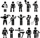Baseball - Sport,Basketball - Sport,Soccer,Playing,Sport,Symbol,Tennis,Sports Clothing,Ice Hockey,Swimming,Silhouette,Volleyball - Sport,Suit,Cyclist,Badminton,Golf,Pool Game,Beach,People,Black Color,Professional Sport,Men,Ball,Uniform,Shirt,Snooker,Clothing,One Person,Table,Gymnastics