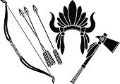 Arrow,Tomahawk,North American Tribal Culture,Wild West,Indigenous Culture,Headdress,American Tribal Culture,Bow,Weapon,American Culture,Stencil,Cultures,Ancient,Symbol,Design,Isolated,Concepts,Creativity,Leadership,The Past,Computer Graphic,Archery,Black Color,Part Of,Image,Equipment,Fantasy,Retro Revival,Ammunition,Ilustration,Vector,Isolated On White
