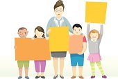 Education,School Children,Picking Up,Teacher,Holding,Standing,Learning,Smiling,Happiness,Composition,Multi Colored,Child,Variation,Blank,Horizontal,Cheerful,isolated object,Vector,Little Girls,Cartoon,Ilustration,Little Boys,Cute