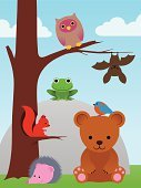 Animal,Forest,Cute,Branch,Hanging,Tree,Friendship,Hedgehog,Animals In The Wild,Perching,Toy,Bat - Animal,Nature,Woodland,Wildlife,Cloud - Sky,Rock - Object,Bird,Amphibian,Rodent,Caricature,Bear,Bluebird,Squirrel,Frog,Owl,Cloudscape,Ilustration,Teddy Bear,Cartoon,Collection,Zoology,Landscape