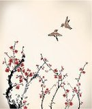 Japan,Bird,Japanese Culture,Watercolor Paints,Cherry Blossom,Sparrow,Watercolor Painting,Chinese Culture,Flower,Tree,Branch,Love,Blossom,Ink,Drawing - Art Product,Springtime,Winter,Flying,East Asian Culture,Paint,Plum,Computer Graphic,Sketch,Growth,Pink Color,Couple,Plum Blossom,Design,Winter Sweet,Friendship
